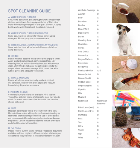 Spot cleaning guide